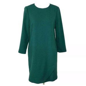J Crew Green Overlapped Long Sleeve Shift Dress